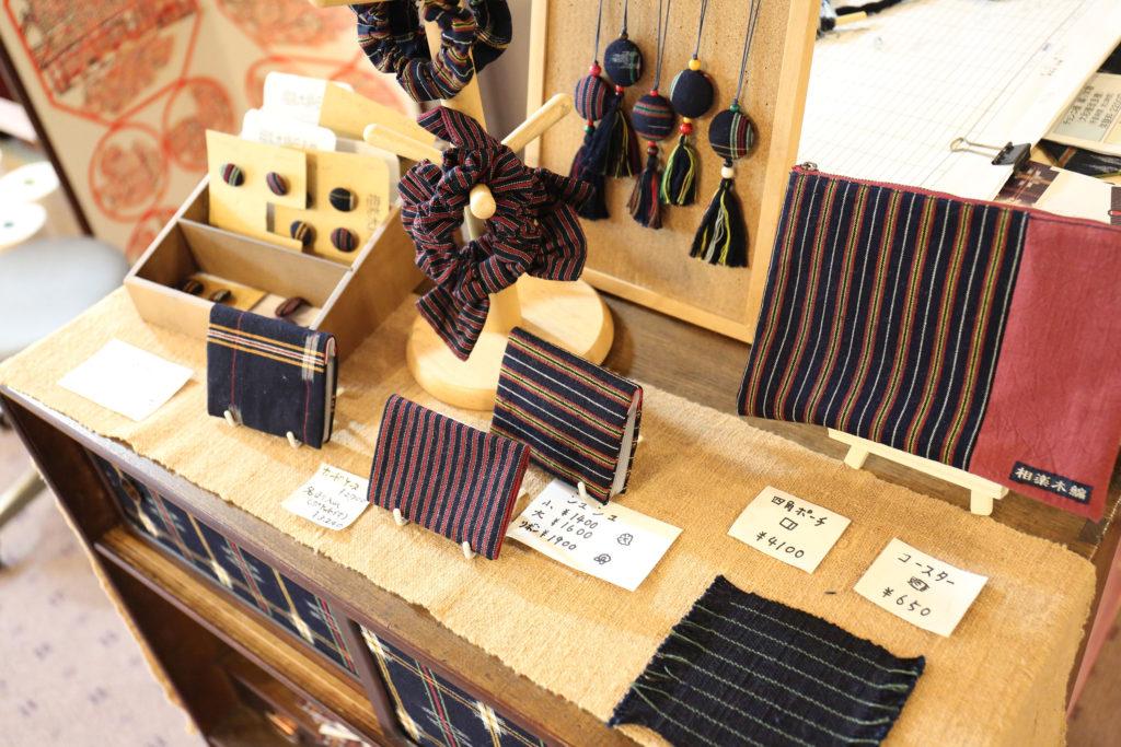 相楽木綿伝承館で販売している相楽木綿の小物。